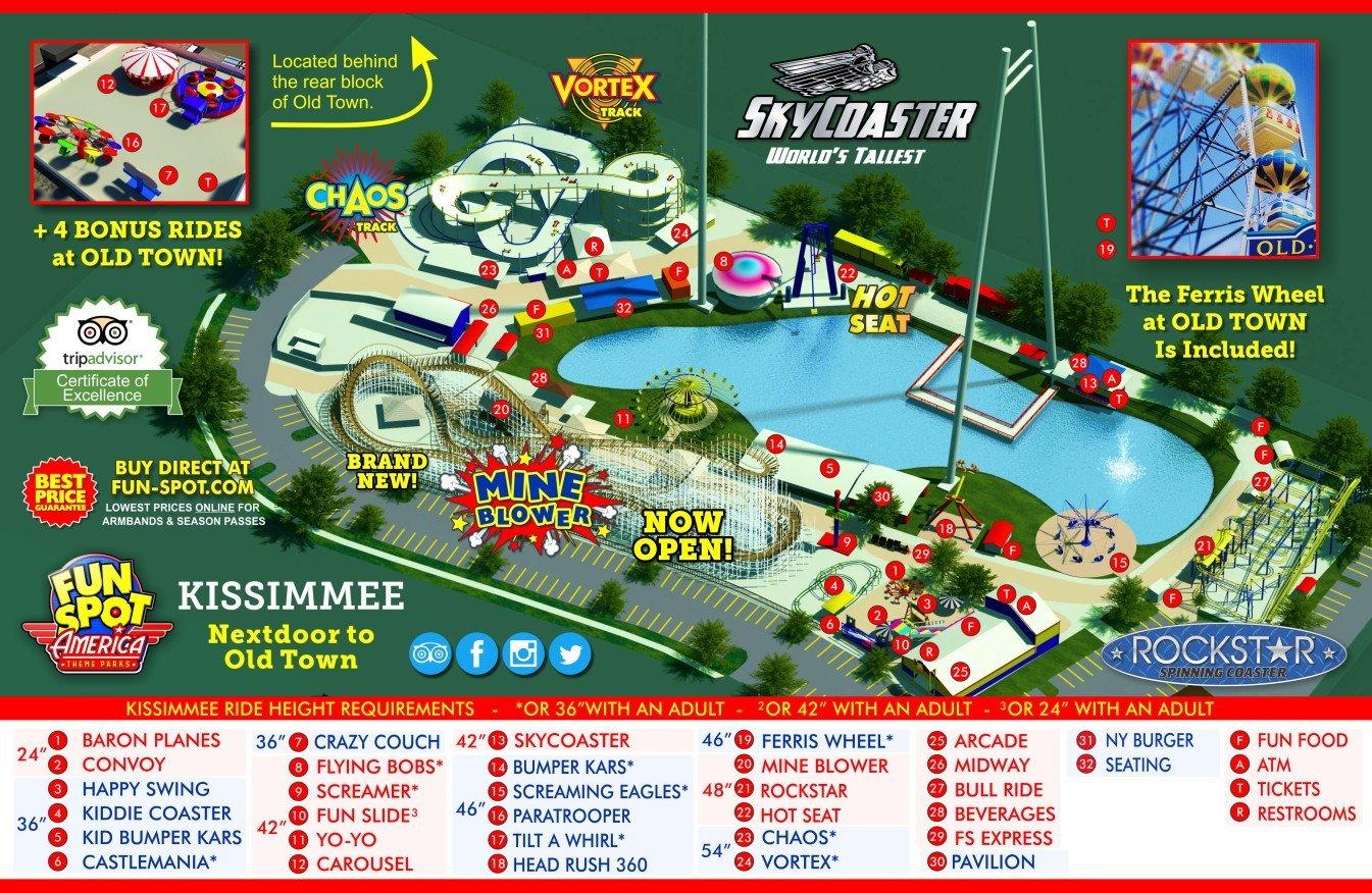 Go Karts Atlanta >> Kissimmee Theme Park Map | Fun Spot Kissimmee Map