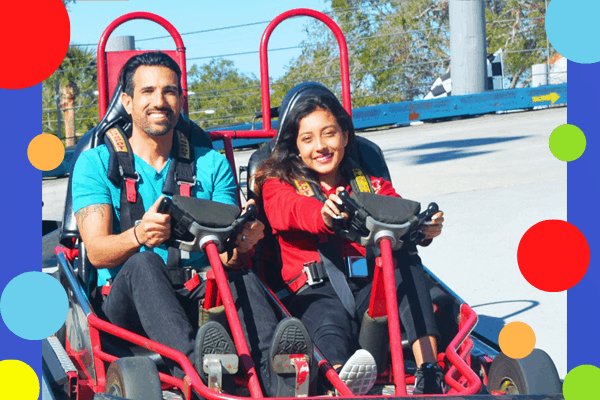 Guests on go-kart